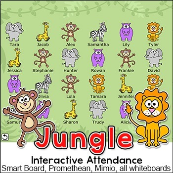 Jungle Theme Attendance for All Interactive Whiteboards and Smartboards