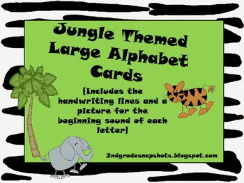 Jungle Theme Large Letter Cards with beginning sounds and handwriting lines