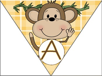 Jungle Theme Monkey Alphabet Banner or Welcome Sign