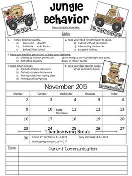 Jungle Theme Monthly Behavior Chart (Editable)