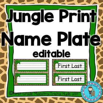 Jungle Theme Name Plates Editable