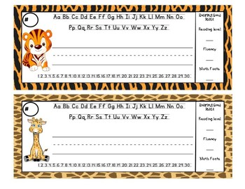 Jungle Theme Nameplates with Data Information