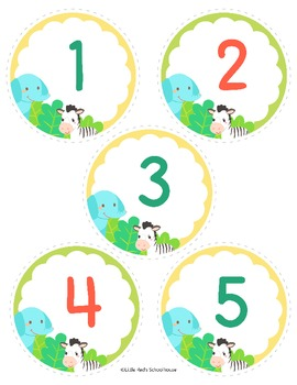 Number Cards Number Labels 1-50 Jungle Theme - Classroom Decor