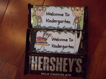 Jungle Theme Open House Hershey's Candy Bar Wrapper Zebra and Monkey
