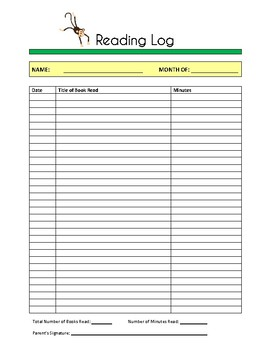 Jungle Theme Reading Log Sheets