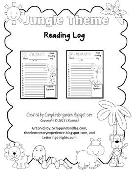 Jungle Theme Reading Logs