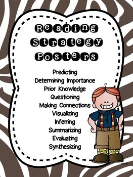Zebra and Tiger Theme Reading Strategy Poster Pack