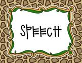 Jungle Theme Speech Classroom Door Sign