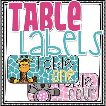 Jungle Theme Table Labels
