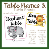 Jungle Theme Table Names and Table Points