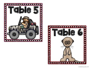 Jungle Theme Table Numbers - 2 sets
