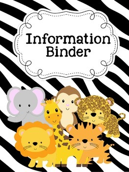 Jungle Theme Teacher Information Binder & Subject cover pages