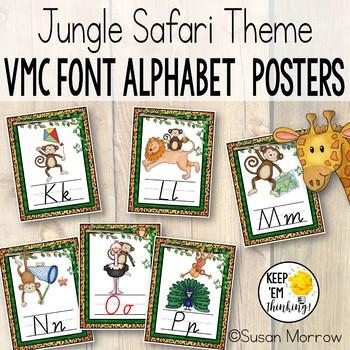 Jungle Theme Victorian Modern Cursive Alphabet Posters, Jungle Classroom Decor