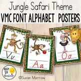 Jungle Theme Victorian Modern Cursive Alphabet Posters, Ju