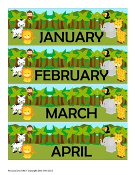 Jungle Theme Wall Calender Month Set