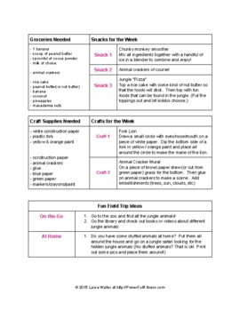 Jungle Theme Weekly Lesson Plan - Homeschool, Pre-K, Preschool, Kindergarten