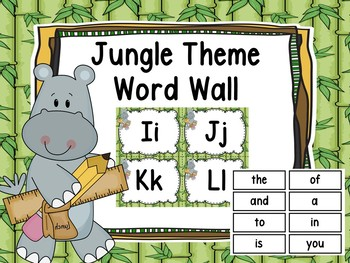 Jungle Theme Word Wall & 200 Fry Words With Editable Word Page