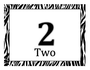 Jungle Theme Zebra Numbers