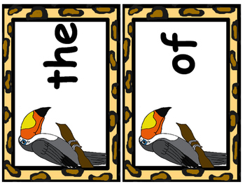 Jungle Themed 1st 100 Fry Word Flashcards