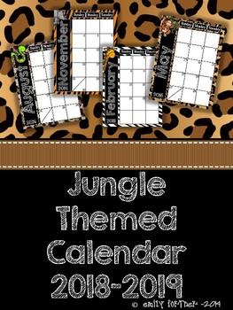 Jungle Themed 2017-2018 School Year Calendar