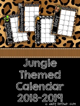 Jungle Themed 2016-2017 School Year Calendar