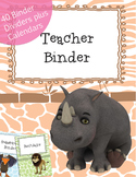 Jungle Themed 70 Teacher Binder Dividers, Calendar and Blank Page