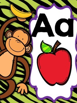 Jungle Themed Alphabet Posters (Purple and Green)