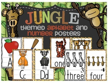 Jungle Themed Alphabet and Number Posters