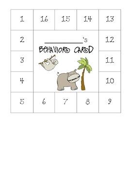 Jungle Themed Behavior Card