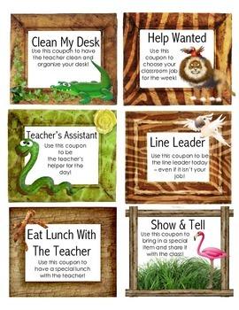 Jungle Themed Behavior Reward Coupons