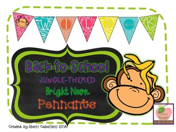Jungle-Themed Bright Neon Back-to-School Pennant Banner Set