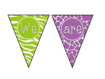 Jungle-Themed Bright Neon Back-to-School Pennant Banner Bundle