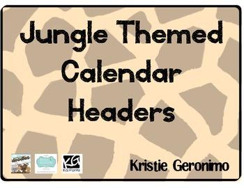 Jungle Themed Calendar Headers