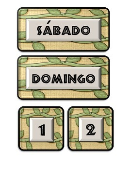 Jungle Themed Calendar Pieces (Spanish version)