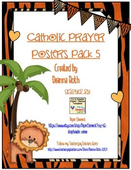 Jungle Themed Catholic Prayer Posters--Pack Five