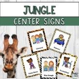 Jungle Animal Print Theme Center Area Signs for PreK Preschool