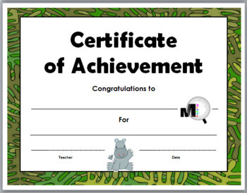 Jungle Theme Classroom Certificates of Achievement -  End of the Year Award