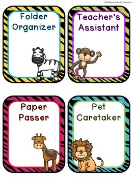 Jungle Themed Classroom Job FREEBIE