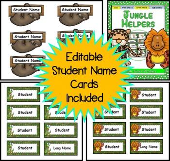 Jungle / Rainforest Themed Classroom Jobs - EDITABLE