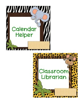 Jungle Themed Classroom Jobs