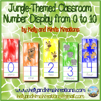 Jungle-Themed Classroom Number Display from 0 to 10