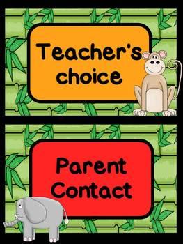 Clip Chart: Jungle Themed (color blocks)