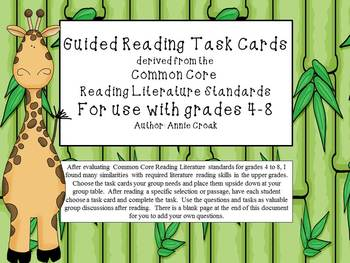 Common Core Guided Reading Task Cards: JUNGLE THEME (grades 4-8)