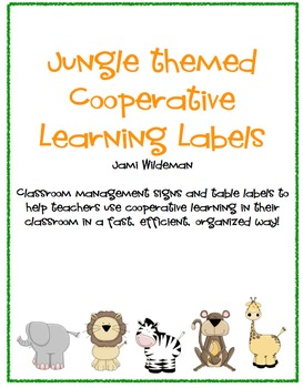 Jungle Themed Cooperative Learning Labels