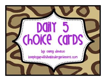 Jungle-Themed Daily 5 Choice Cards