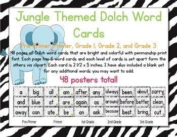 Jungle Themed Decor Dolch Word Cards (Pre-Primer-3rd Grade)