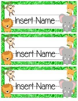 Jungle Themed Editable Name Tags