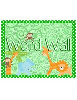 Jungle Themed Editable Word Wall