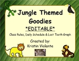 Jungle Themed Goodies EDITABLE - Class Rules, Daily Schedu