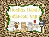 Jungle Themed Healthy Bathroom Habits Signs